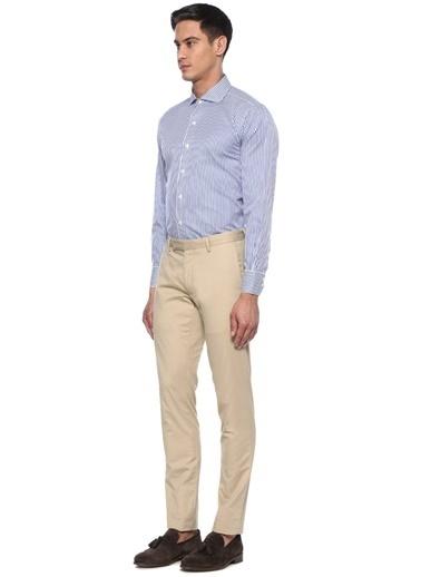 Brooks Brothers Brooks Brothers 101424540 Ingiliz Yaka Uzun Kol Çizgi Desenli  Erkek Gömlek Mavi